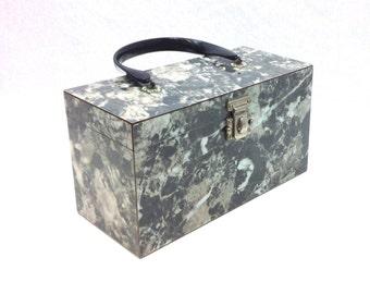 50s Grey Box Purse | Grey Marbled Laminate Box Purse | Mika Purse Co.