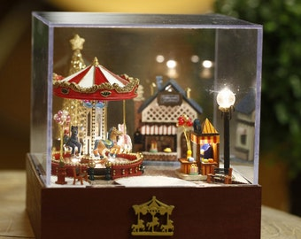 DIY Miniature Merry-go-round Music Box  Miniature House Handcraft Kit Birthday Gifts Christmas Gift Kids Women Toy Assembly Dollhouse Model