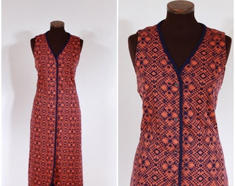 Vintage 60s 70s Knitted Navy and Orange Dress M/L