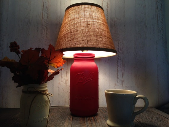 Mason Jar Barn Red Table Lamp Burlap Shade Rustic Farm