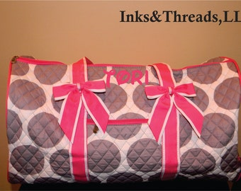 QUILTED POLKA Dots Large Duffle Bag