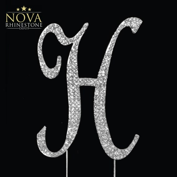 letter h wedding cake topper small rhinestone silver letter quot h quot monogram 16834
