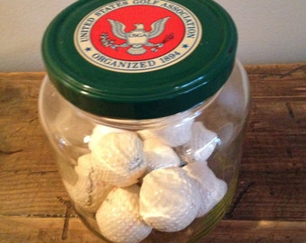 Vintage US Golf Association Glass Jar with 10 Balls M434-7