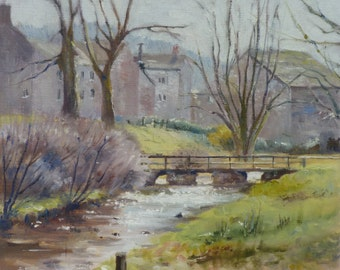 Original oil painting, Village Of Grey Stone In the Yorkshire Dales