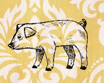 Pig Stamp: Wood Mounted Pigglet Rubber Stamp