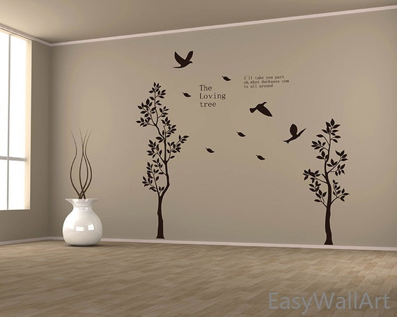 Two trees wall decal birds quotes for living room decals for Living room quote stickers