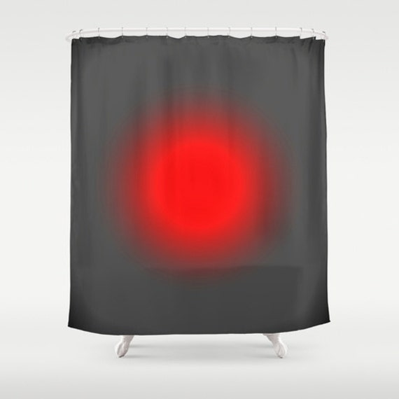 Shower Curtain, Red & Gray Focus Shower Curtain, Red Shower Curtain ...