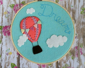 Embroidery hoop art | Hot air balloon decor | nursery decor | felt hoop art