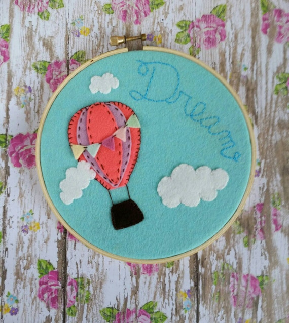 Items similar to embroidery hoop art hot air balloon