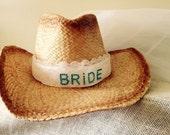 Western bride, cowboy hat, bride cowgirl hat, bride hat with veil, bachlorette party