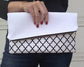 Black & White Angled Lines Clutch