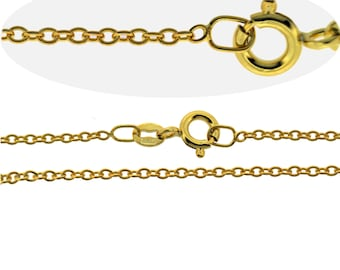 9CT Gold Plated Fine 1.6mm Trace Chain Necklace VARIOUS LENGTHS