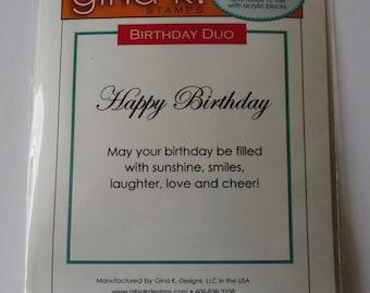 Birthday Stamp Set, Gina K Designs, Birthday Sentiment Stamp, Cling Rubber Stamp, Happy Birthday Duo Sentiment, Cling Rubber Stamp Set