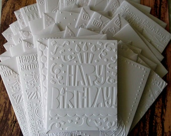 Birthday Card Set of 18, Assorted White Embossed Birthday Cards, Assorted Birthday Cards, Birthday Greeting Cards, Variety Pack, Blank Cards