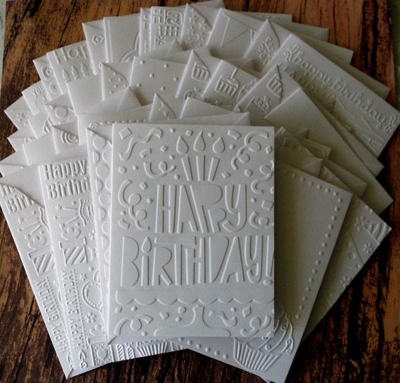 Birthday Card Set Of 18 Assorted White Embossed Birthday