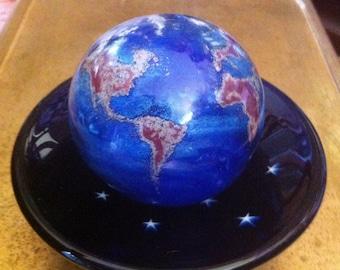 Lundberg Art Glass Globe and Night Sky Base