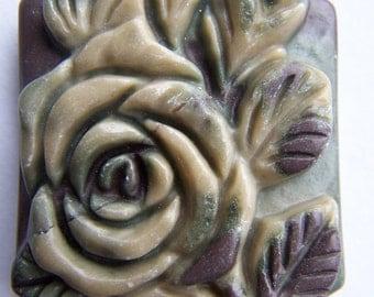 Carved Ribbon Jasper Flower pendant 45x35mm
