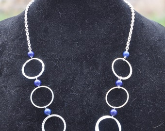 blue beads and silver circles