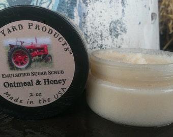 Whipped Sugar Scrub w/ Oatmeal and Honey - 2 oz TRIAL/TRAVEL SIZE- Oatmeal & Honey - Handmade