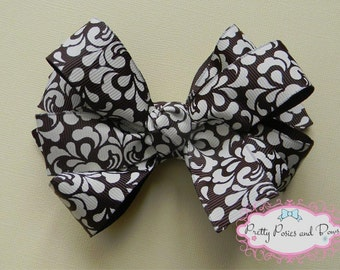 Brown and White Triple Layer Hair Bow
