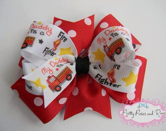 My Daddy Is A Fire Fighter Hair Bow, Fire Truck Hair Bow, Fire Fighter Hair Bow