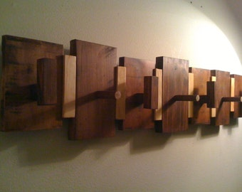 Wall Mounted Coat Rack with Hooks & Pegs - Made To Order