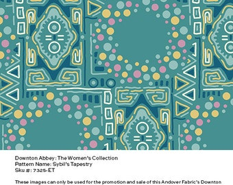 Downton Abbey Fabric - Sybil's Tapestry in Teal