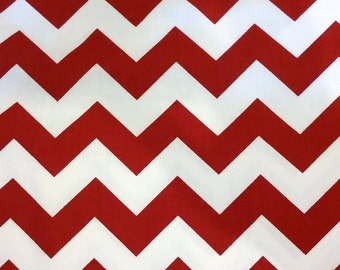 Chevron Stripes - Crimson and White Stripes Fabric