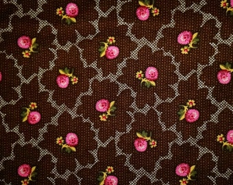Trading Post - Pink Flowers on Brown Fabric