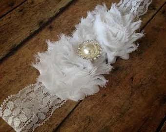 Baby girl headband, White Lace Shabby Chic Headband,Newborn headband, Vintage headband, Baptism, Wedding headband, Baby Accessories