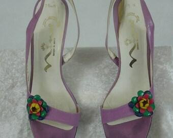 SALE!!! Vintage NINA Sling-Back Heels. Open Toe. Lavender. Size 7 1/2 N.