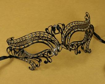 Fancy BLACK Mardi Gras Venetian MASQUERADE Mask Laser Cut metal w/ Rhinestones
