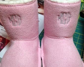 Pink Sherling Monogrammed Boots for Infants
