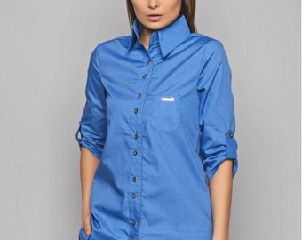 Blue blouse. Staple blouse. Office blouse. Blouse with long sleeves. Spring blouse. Woman blouse. Casual blouse. Blouse with buttons.