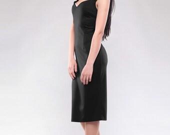 Black dress. Spring dress. Jersey dress, Party dress, Classic dress, Office dress, Elegant dress, Occasion dress. Evening dress. Knee dress.
