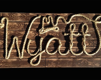 "WYATT: 32"" Western Rope Name Sign Cowboy Theme Room Nursery- Brown Wood Grain Finish- (002)"