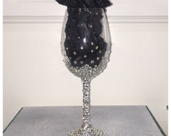 Personalized Decor Custom Made Bling Wine Glass -1pc