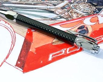 Carbon Fibre & Chrome Ballpoint Pen