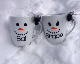 Personalized Coffee/Hot Chocolate Mug - snowman face and name