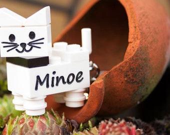Personalised lego® cat keychain