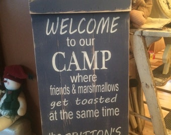 Welvome to Camp wooden sign