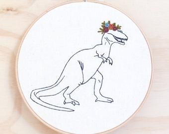 Flower-saurus Rex hand embroidered Hoop Art, wall art