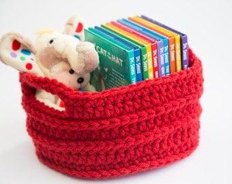 Handmade Crochet Round Basket (Large)