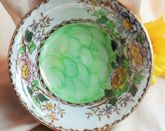 MALING Pottery Vintage China Peony Rose ~ Sweet Trinket Pin Dish Bowl