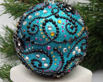 Whimsical Turquoise Floral Scroll Christmas Ornament
