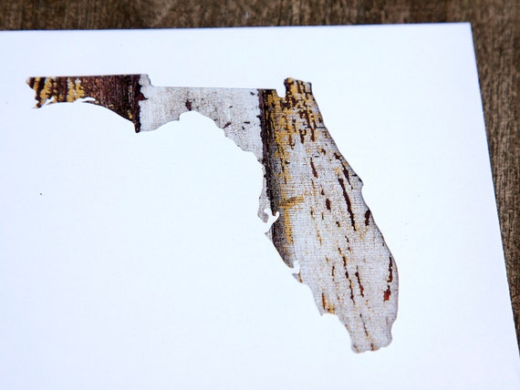 Florida Or Any Us State Shape Map Cutout Wood Texture Photography Blank Note Cards Box 12 Die Cut Thank You Country Chic Rustic