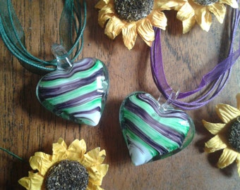 Murano glass striped heart pendant necklace - Purple/Green