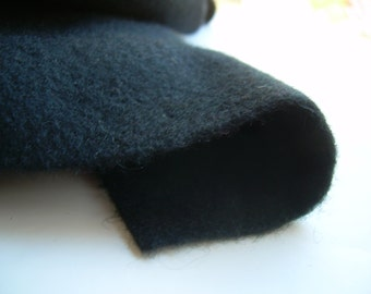 Black MELTON Wool  COATING Fabric 59+ inches wide. 1.9 yd. continuous length. Very thick + warm. Import to Canada  early 1990's from Europe.