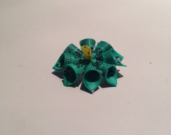 Tape Measure Flower Brooch