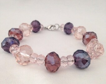 Pink beaded bracelet, purple beaded bracelet, pink bracelet, purple bracelet